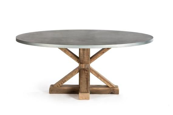 French Trestle Oval Zinc Top Dining Pedestal Table Zinc Table
