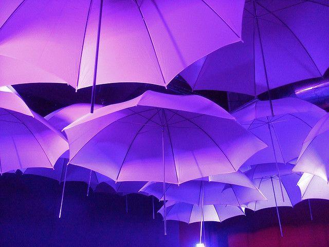 Purple Umbrellas - would be a fun event in a high ceiling venue...