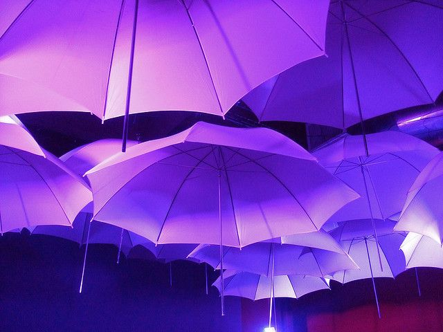 Purple Umbrellas - would be a fun event in a high ceiling venue...