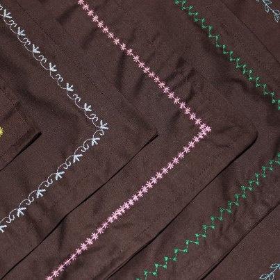 Plain Brown Bandana with Detailed Stitching by MarysBigSheep, $12.00