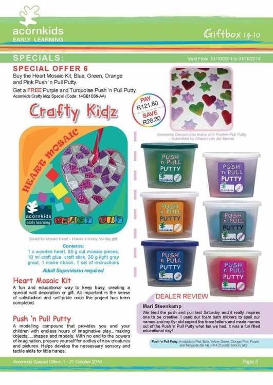 SAVE R75.50 when you buy Red KaleidoFoam, Green Gloop, Blue Squish 'n Squeeze and Pirates Bathpops   GET a FREE Christmas Bathpops (10 capsules) and Footprints Shoe Stickers for R157.16   Delivery fee applicable on all orders R45 - delivery time 2 -3 days by courier (subsidised until normal postal operations resume) and straight to your door.   ONLINE shopping also available at www.acornkids.com/acornkidsangela and orders can be placed by regular email too.   Please use the above link ...