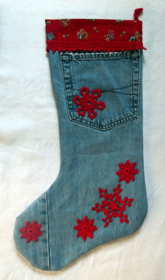 Upcycled Jeans Christmas Stocking With Crocheted by tabachin, $24.50