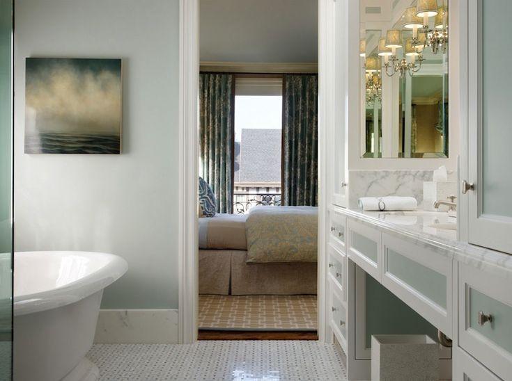 Suzie: Jeffers Design Group - Spa-like ensuite bathroom with soft blue gray  walls paint color, .
