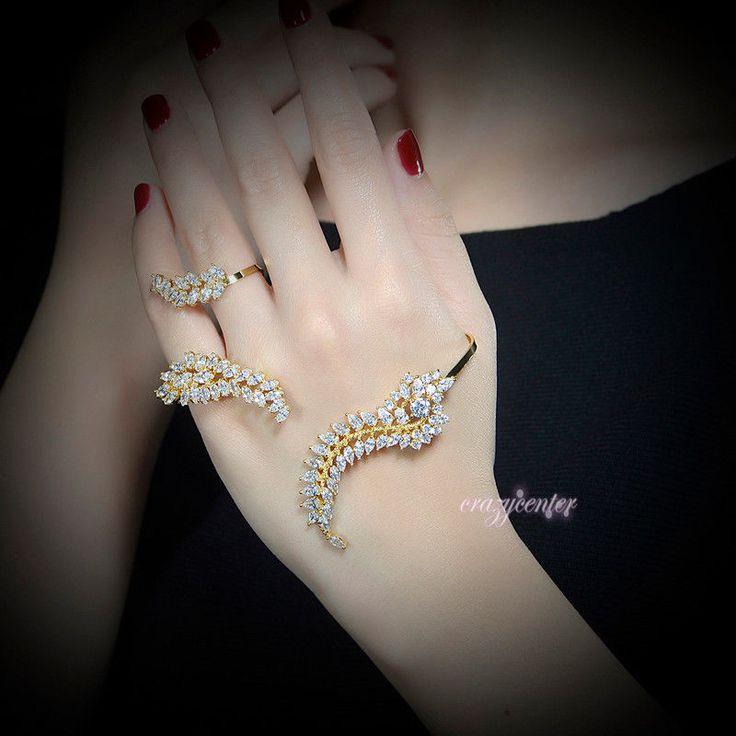 Adjustable Palm Cuff Bangle Zirconia Cluster Hand Cuff Bracelet Yellow Gold Gp