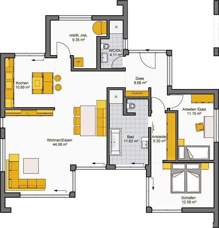 architekten haus finess 118 fertighaus bungalow haus pinterest fertigh user. Black Bedroom Furniture Sets. Home Design Ideas
