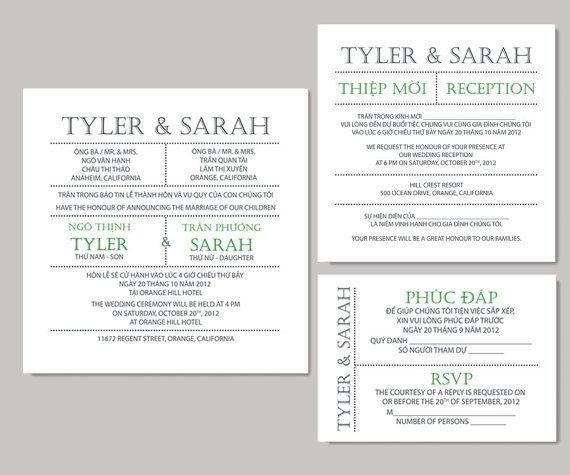 Vietnamese wedding invitations.