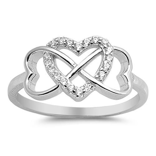 Sterling Silver Triple Heart Infinity Ring Three hearts designed to create infinity of love! Rhodium Plated Sterling Silver and CZ Heart Ring. The heart design measures 10mm X 18mm. The band is approx