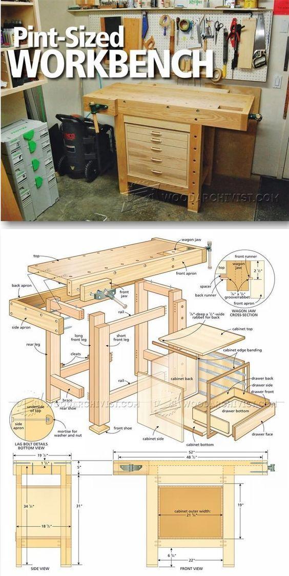 Compact Workbench Plans - Workshop Solutions Plans, Tips and Tricks   http://WoodArchivist.com