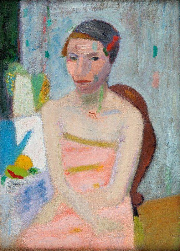 Artur Stefan Nacht - Samborski, Woman in rose dress, 1939