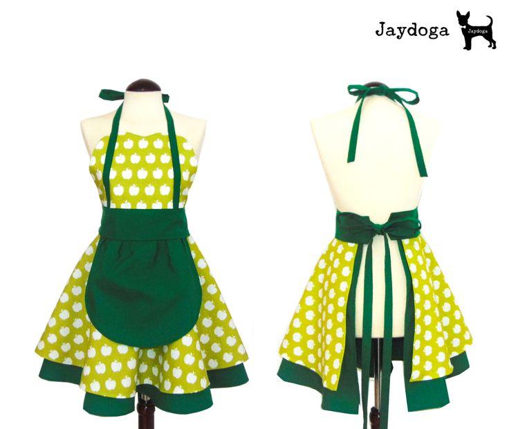 """Delantal Vintage """"Green Apples"""" Delantal estilo vintage elegante y original, totalmente artesanal y de gran calidad! Delantal 30% algodón y 70% poliéster Tela proveniente de España"""