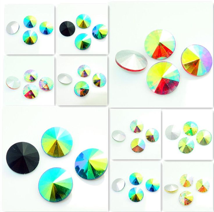 new 15PCS XILION  ELEMENTS Crystal Rivoli glass loose Beads 14mm Color AB