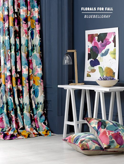 Perfect example of fabric design being used for matching soft furnishings such as curtains and cushions. I could create an interior with my own fabric designs, but being inspired by Australian flora and fauna. Bluebellgray: Decorating With Florals For Fall