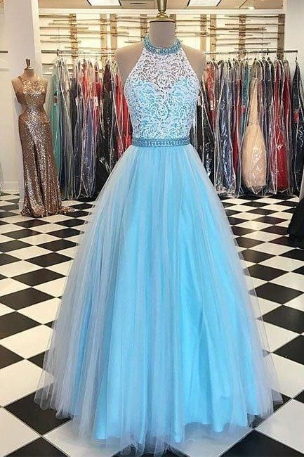 prom dresses,blue high neck lace tulle long prom dress, blue evening dress