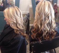 Platinum blonde highlight lowlight with dark underneath