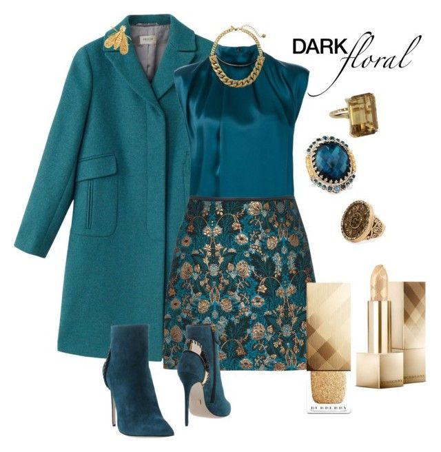 """""""Teal the line"""" by naomi-mann on Polyvore featuring Precis Petite, Lanvin, Daniele Michetti, Kate Spade, Vintage, Chico's, Konstantino, Burberry, Chaumet and darkflorals"""
