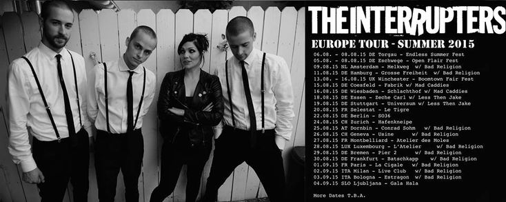 #Punk news:  THE INTERRUPTERS in Italia a settembre per due date http://www.punkadeka.it/interrupters-italia-settembre-per-due-date/ Arrivano per la prima volta in Italia gli Interrupters. La ska band di Los Angeles, ultima creatura di Tim Armstrong, sarà nel nostro paese nientepopodimenoche di spalla ai Bad Religion! Le date sono quelle del 2 settembre (Live Club di Trezzo sull'Adda, Milano) e 3 settembre (Estragon di ...