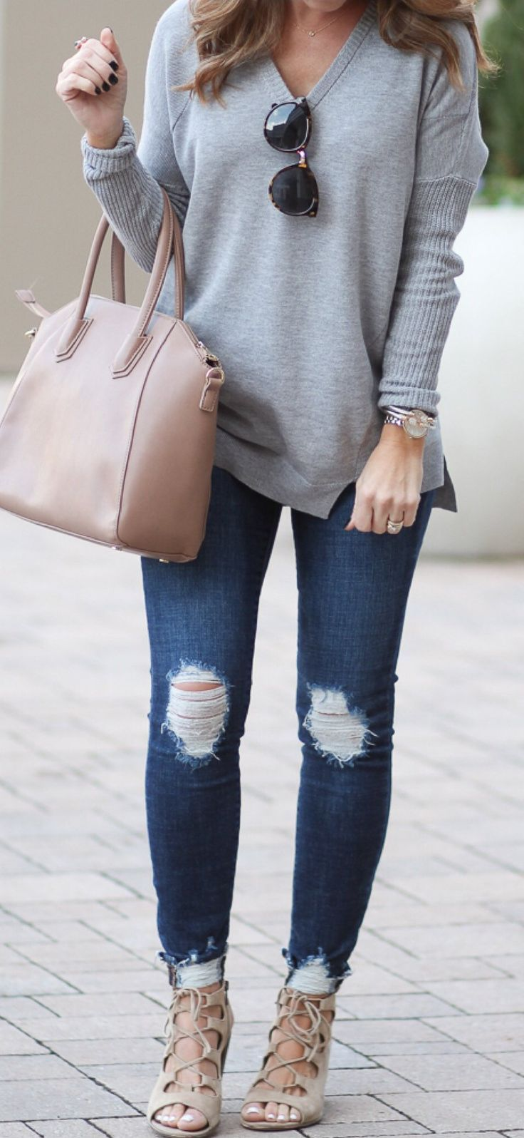 Grey Knit / Pink Leather Tote Bag / Ripped Skinny Jeans / Laced Up Booties... | Street Fashion