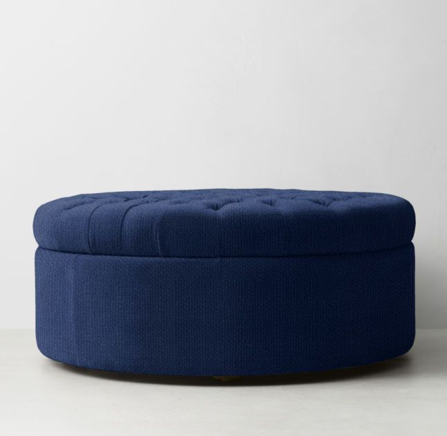 Awesome Tufted Large Round Storage Ottoman