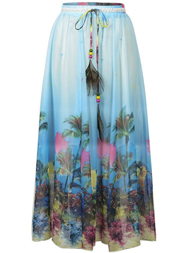 Buy Elastic Waist Printed Flared Chiffon Maxi Skirt online with cheap prices and discover fashion Maxi Skirts at Fashionmia.com.