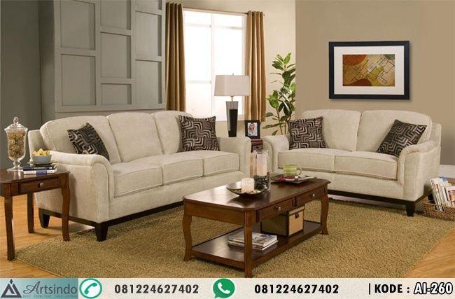 Sofa Tamu Set Minimalis Kayu Jati AI-260 by Furniture Jepara Spesifikasi : Bahan Kayu Jati Finishing Natural Bahan Kain Bludru Formasi 3 2 + Meja Tamu + 2 Meja Pojok