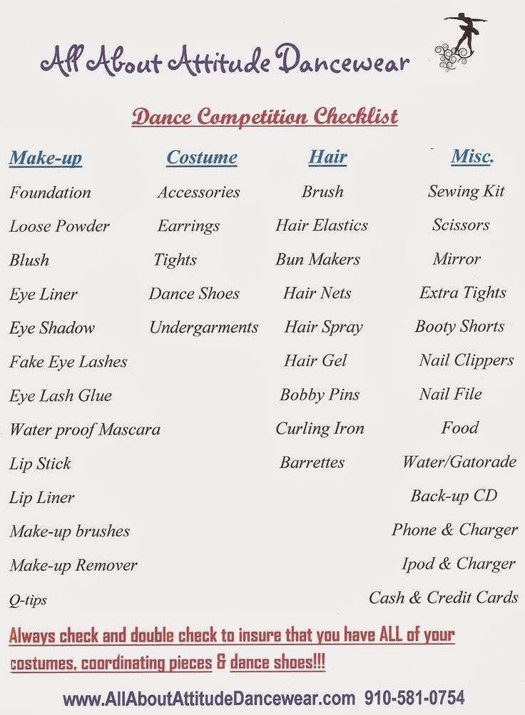 All things Dance: Packing for a Dance Competition or Recital