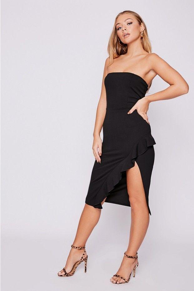 416889eec36 Billie faiers black bandeau frill side midi dress