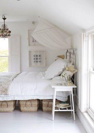 whiteDecor, Guest Room, Ideas, White Bedrooms, House, Baskets, Under Beds Storage, White Room, Bed Storage