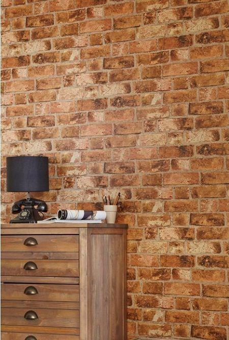 Fine Decor Henderson Distinctive Brick Effect Wallpaper - Red