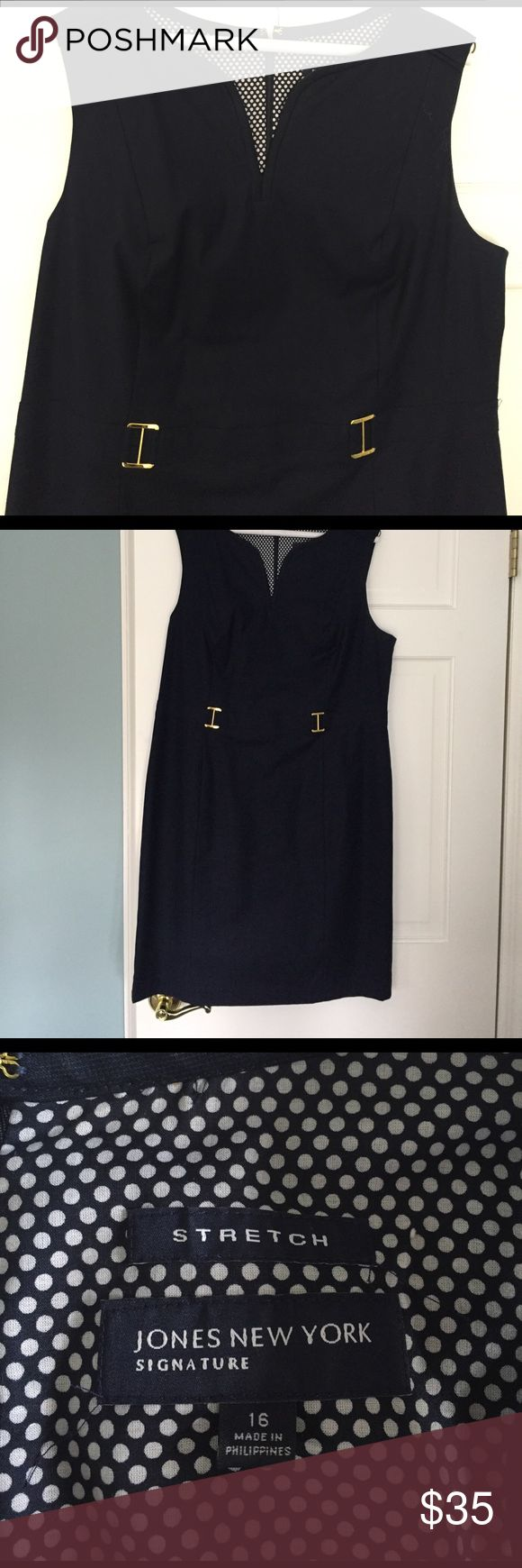 "Navy summer work dress NWOT, fully lined navy cotton blend dress with gold waist buckle details. Nicely fitted with pretty neckline and accent shoulder seams. 21"" bust, 39"" Length from shoulder to hem. Never worn. Jones New York Dresses Midi"