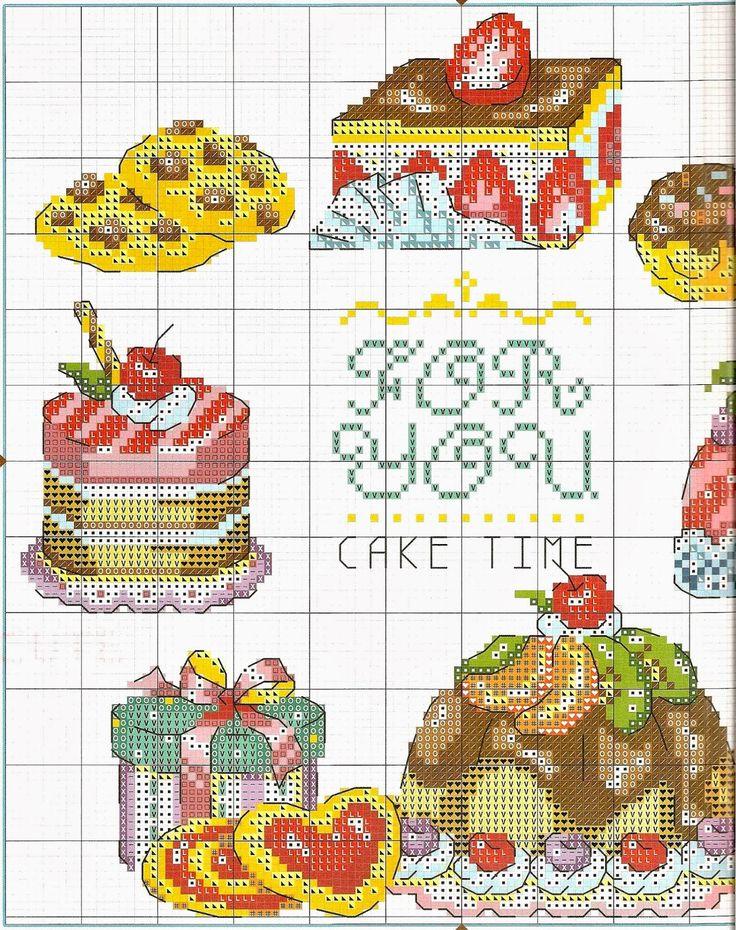 Ricami, lavori e centinaia di schemi a punto croce di tutti i tipi, gratis: Schemi a punto croce dolci, dolcetti e torte