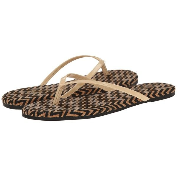 Yosi Samra Roee Zigzag Cork Flip Flop (Black/Biscotti) Women's Sandals ($45) ❤ liked on Polyvore featuring shoes, sandals, flip flops, black flip flops, kohl shoes, zig zag shoes, synthetic shoes and zigzag shoes