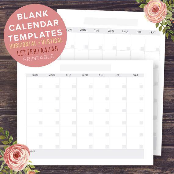 Calendar Template Blank Calendar 2016 by PrintablePineapple #printablecalendar #free #printablesfree