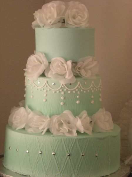 Mint Green Wedding Cake, With Mint Chocolate Chip Ice Cream. One Of The Many