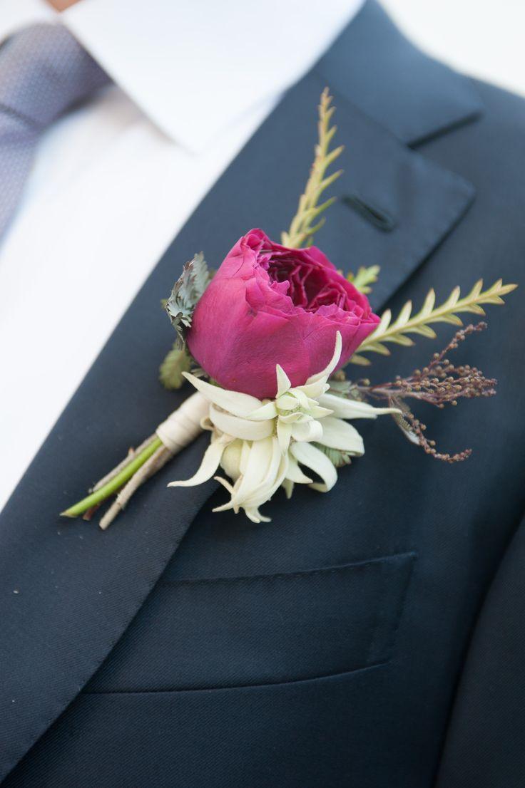 Magenta Garden Rose Boutonniere - Thinking something like this for groomsmen.