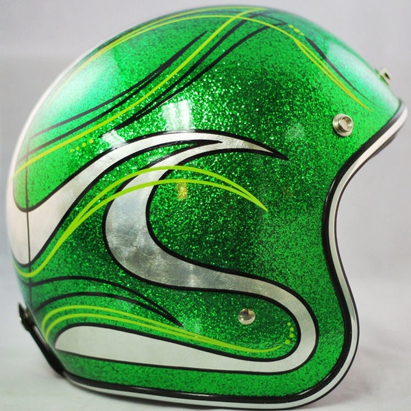 Candy Green With Silver Leaf Artwork Custom Motorcycle