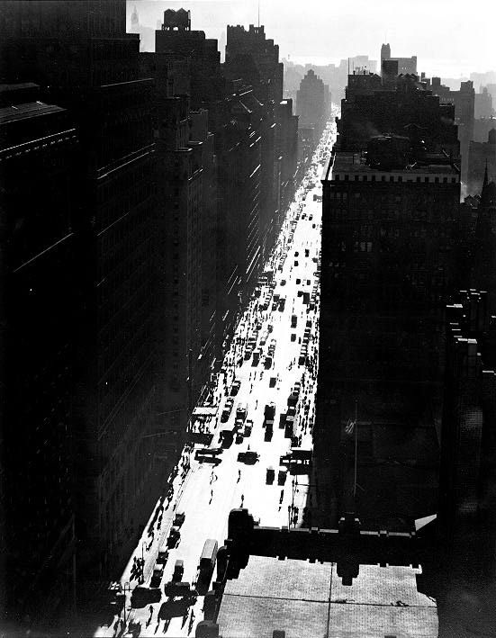 Seventh Ave. looking south from 35th St. - New York - Dec. 5th, 1935 - photographer Berenice Abbott.
