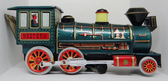Vintage toy train Modern Toys tin toy train by thewildburro, $25.00