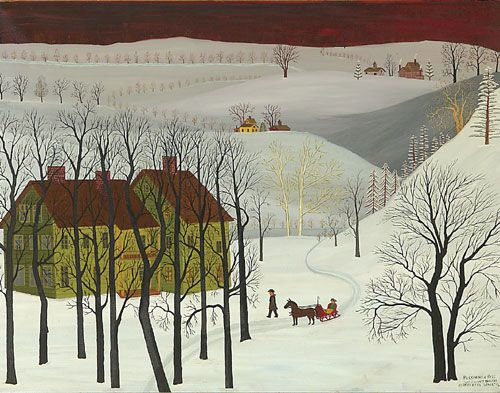 """Vermont folk art...American (1988 - 1966) """"Persimmon Pass, Vermont Habitat,"""" 1962, oil on canvas, 28 x 36"""", framed. Streeter Blair's quaint folk art depictions of the American scene are included in several important references on American folk and outsider art."""