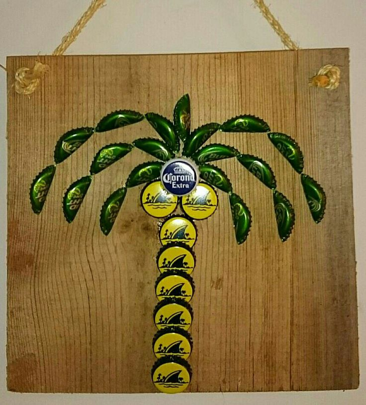 Palm tree bottle cap wall art captivated pinterest for Bottle cap wall