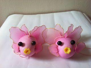 Handmade Stocking Flowers - Singapore: Art and Craft Pink Gold Fish