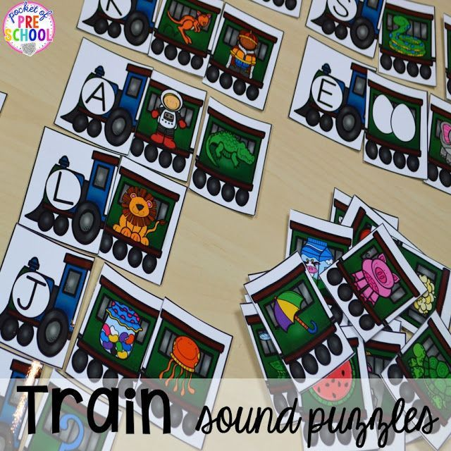 Train beginning sound puzzles. Perfect for a transportation or train theme. Plus Road Number Mat FREEBIE Perfect for preschool, pre-k,  and kindergarten.