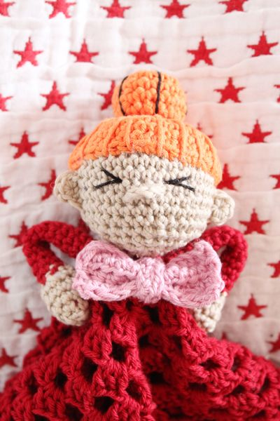 Crocheted Little My from Moomin Amigurumi Comfort Blanket - FREE Crochet Pattern and Tutorial