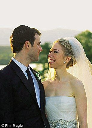 Chelsea Clinton and her husband Marc Mezvinsky on their wedding day in 2010