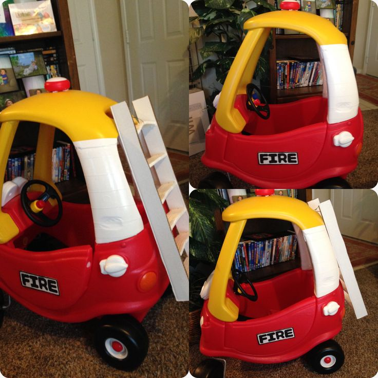Cozy Coupe Fire Truck With Ladder: Car: Used White Duck