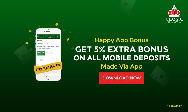 Play Rummy Game On Mobile, then here is a good news for y'all.   Get extra 5% bonus on all your deposits made via classic rummy app. So what are you waiting for, Download Now & Play Rummy Online.  #rummy #mobile #download #mobile #ios #android