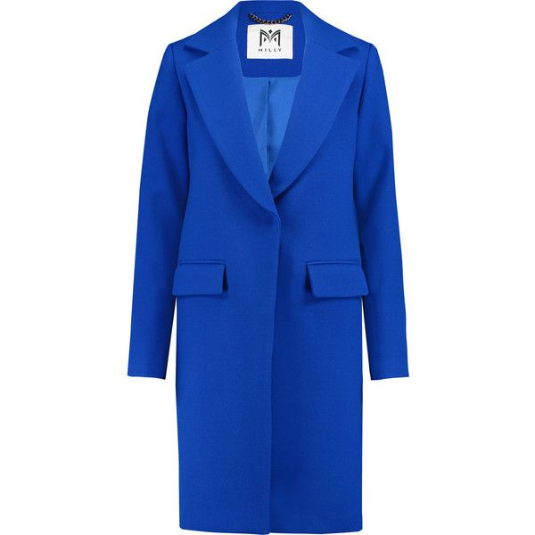 Milly Claudia wool-blend coat ($535) ❤ liked on Polyvore featuring outerwear, coats, cobalt blue, slim fit coat, milly coat, blue coat, wool-blend coat and slim coat
