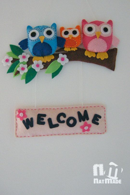 Felt Welcome sign Owls family Handmade door by NatmadeCrafts