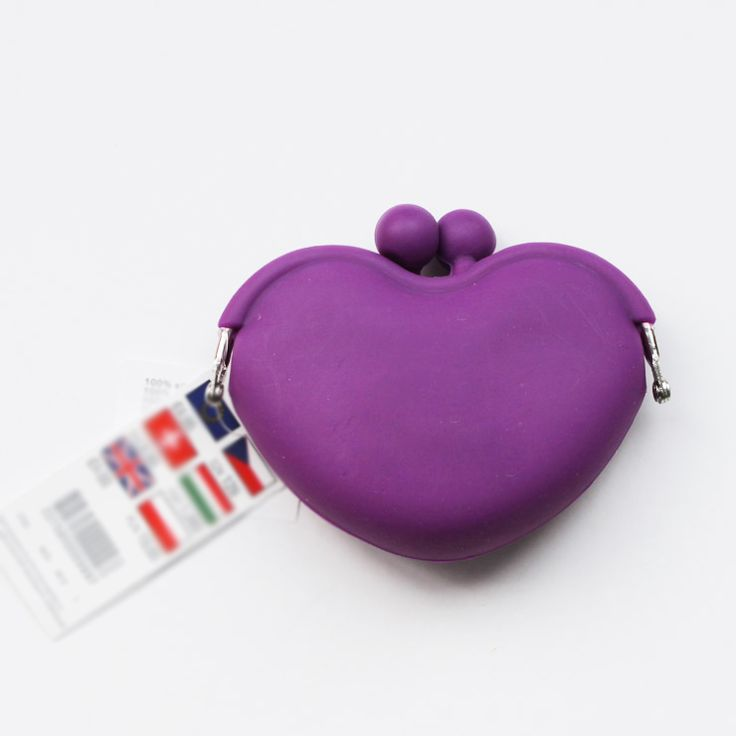 classic heart shape silicone pochi purse with cheap price
