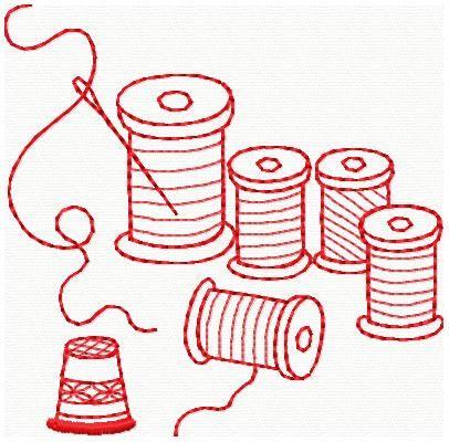 Machine Embroidery Designs - Redwork Sewing Designs love the redwork designs retro look!
