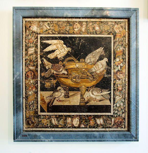 Colombe che si abbeverano a un bacile d'oro, ricca cornice con fiori, frutta e maschere teatrali - da Pompei, Museo Arch. Naz. Napoli